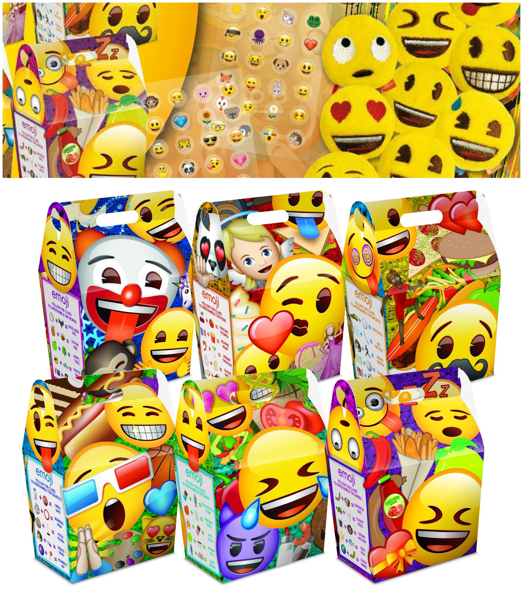 Emoji Birthday Party Bag Sets Cardboard Meal Lunch Box Includes Stickers Plush Toys